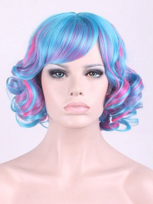 Colorful Short Wavy Capless Synthetic Cosplay Wig With Bang