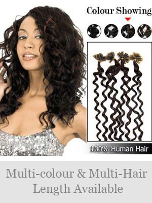 "20"" 100% Curly Nail Tip Human Hair Extensions"
