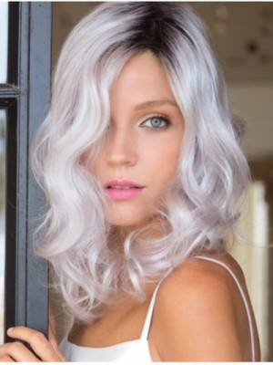 Monofilament Curly Shoulder Length Grey Wigs