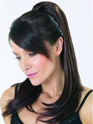 "20"" Straight Layered With Clip Attachment Ponytail"