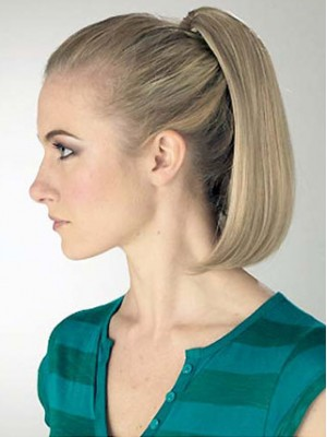 "12"" Straight Bob Shape Synthetic Ponytail With Clip"
