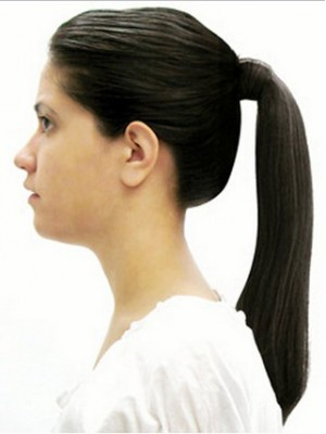 "14"" Straight Layered Heat Resistant Synthetic Ponytail"