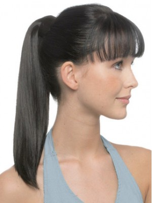"18"" Sleek Straight With Pressure Clip Human Hair Ponytail"