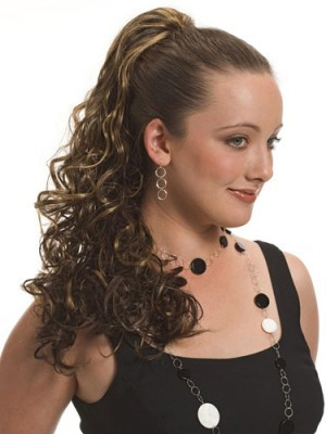 "18"" Claw Clip Synthetic Flow Curled Ponytail"
