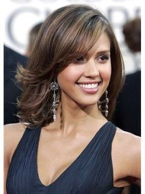 Jessica Alba Mittle Wavy lace front human hair wig