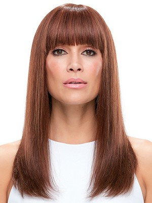 Gorgeous 18 Inch Straight With Bangs Human Hair Wigs