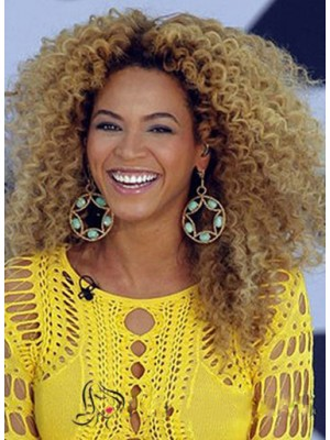 Chic Beyonce Full Lace Medium Curly Blonde Human Hair