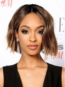 Popular Brown Short Straight Lace Front Wig Remy Human Hair Wig
