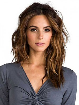 Comfortable Long Wavy Brown Lace Front Wig Remy Human Hair Wig