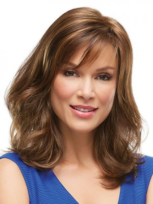 Brown Capless Long Straight Remy Human Hair Wig With Bang