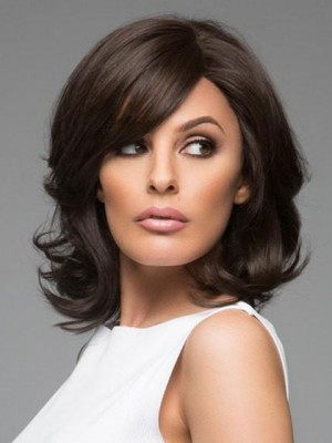 Elegant Black Medium Wavy Remy Capless Human Hair Wig