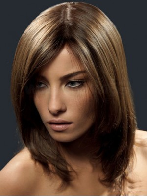 Shoulder-length Glueless Lace Front Human Hair Wig