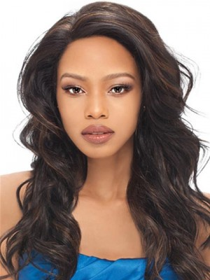 Chic Lace Front Long Wavy Human Hair Wig