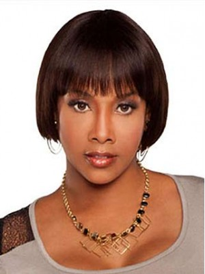 Elegant Lace Front Short Straight Human Hair Wig