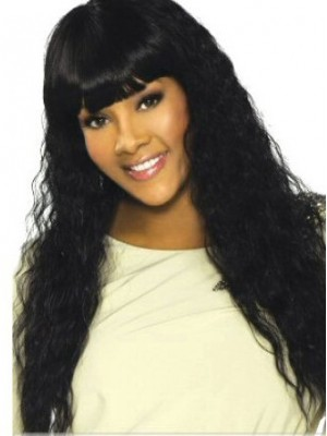 Long Curly Black Human Hair Wig