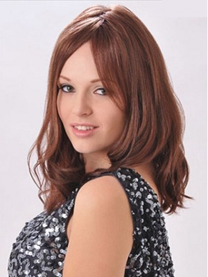 Loose Wave 100% Human Hair Capless Wig with mid-length