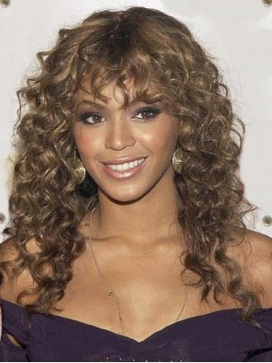 European Style Long Curly Brown African American Lace Wigs for W