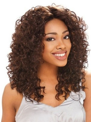 Online Wigs Medium Curly Brown No Bang African American Lace Wig