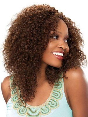 Ancient Medium Curly Brown No Bang African American Lace Wigs fo
