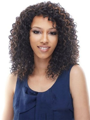 Prevailing Medium Curly Brown No Bang African American Lace Wigs