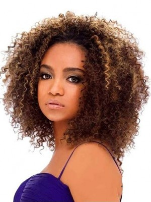 Wig Online Short Curly Brown No Bang African American Lace Wig