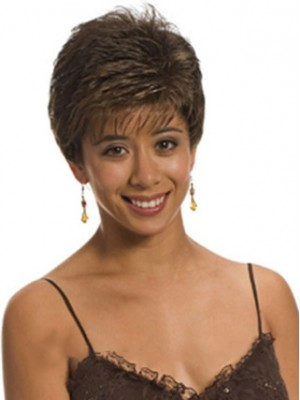 Pretty Short Straight Side Bang African American Lace Wigs for Women