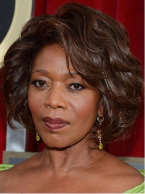 African American Alfre Woodard Short Wave Hairstyle Fluffy Natural Smooth Wig