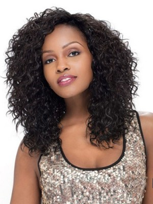 Shinning Medium Curly Black African American Lace Wig
