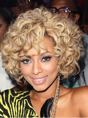 Popurlar Short Curly Blonde African American Lace Wigs