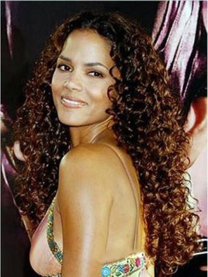 Sweet Long 24 Inch Wavy Brown African American Lace Wigs