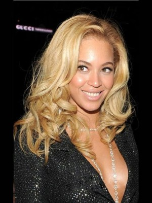 Marvelous Medium Curly Blonde African American Lace Wigs