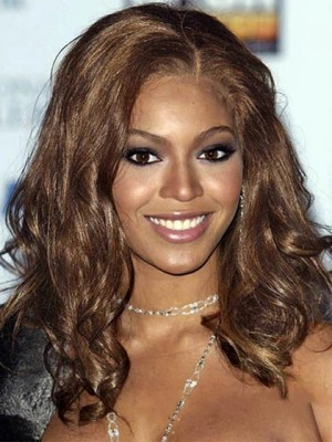 Graceful Medium Wavy Brown African American Lace Wigs