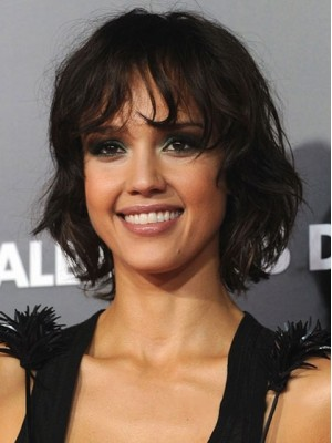Faddish Short Wavy African American Lace Front Wigs for Women