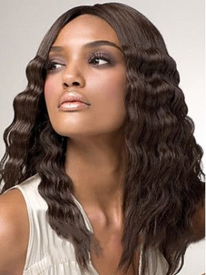 Delicate Long Wavy African American Lace Front Wigs for Women