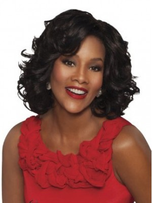Modern Medium Wavy Black African American Lace Front Wig