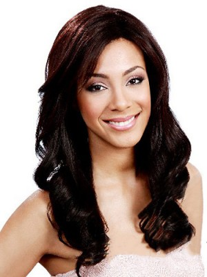Amazing Long Wavy No Bang African American Lace Wigs for Women