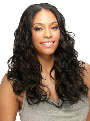 Chic Long Wavy No Bang African American Lace Wigs for Women