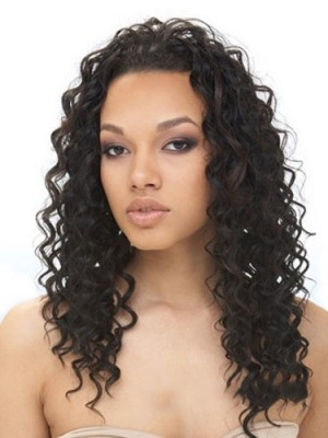 Dainty Long Curly No Bang African American Lace Wigs for Women
