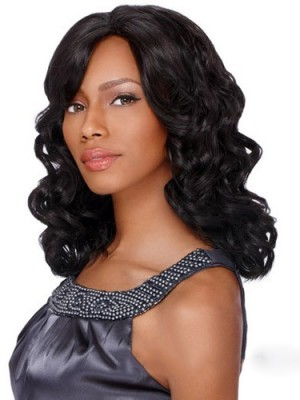 Hand Tied Medium Wavy Side Bang African American Lace Wigs for Women