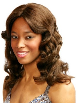 Gracefull Medium Wavy No Bang African American Lace Wigs for Women