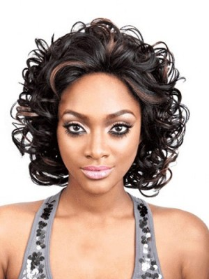 Soft Medium Curly No Bang African American Lace Wigs for Women