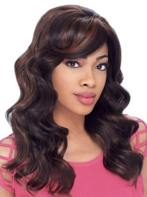 Stylish Long Wavy African American Lace Wigs for Women 18 Inch