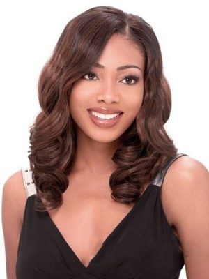 Lastest Trend Medium Wavy No Bang African American Lace Wig