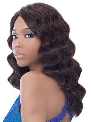 Glamorous Long Wavy No Bang African American Lace Wigs for Women