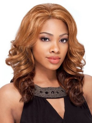 Pretty Medium Wavy No Bang African American Lace Wigs for Women
