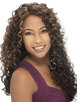 Prevailing Long Curly No Bang African American Lace Wigs for Women