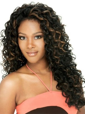 Lovely Long Curly No Bang African American Lace Wigs for Women