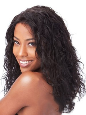 New Medium Curly No Bang African American Lace Wigs for Women 14