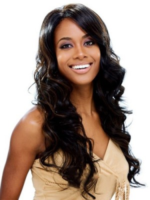 New Fashion Long Curly No Bang African American Lace Wigs