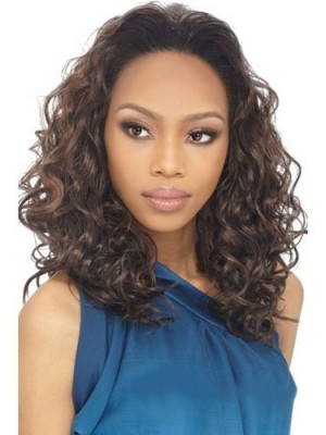 Lustrous Medium Curly No Bang African American Lace Wig
